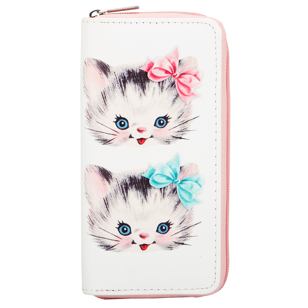 Sansarya 2018 Fashion Style Animals Lovely Bowknot Cats Printed Woman Wallets PU Long Wallet Card Holder Phone Money Bag