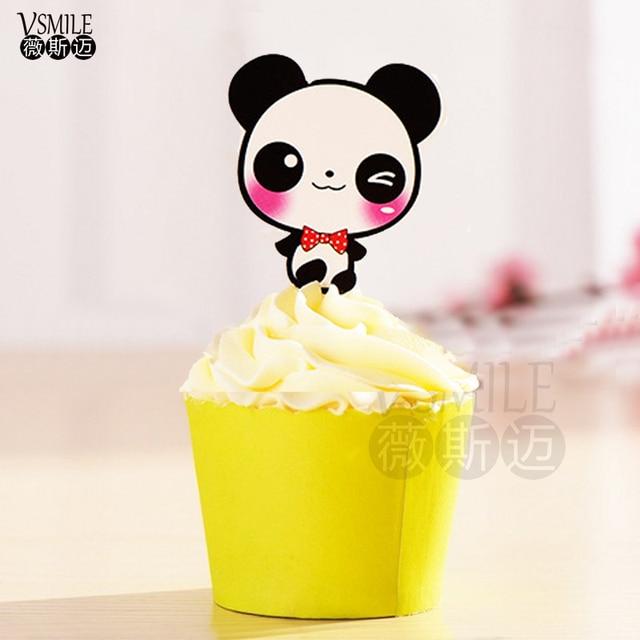 50pcs Cute Red necktie Panda paper Cupcake topper Mary Cat Mermaid ...