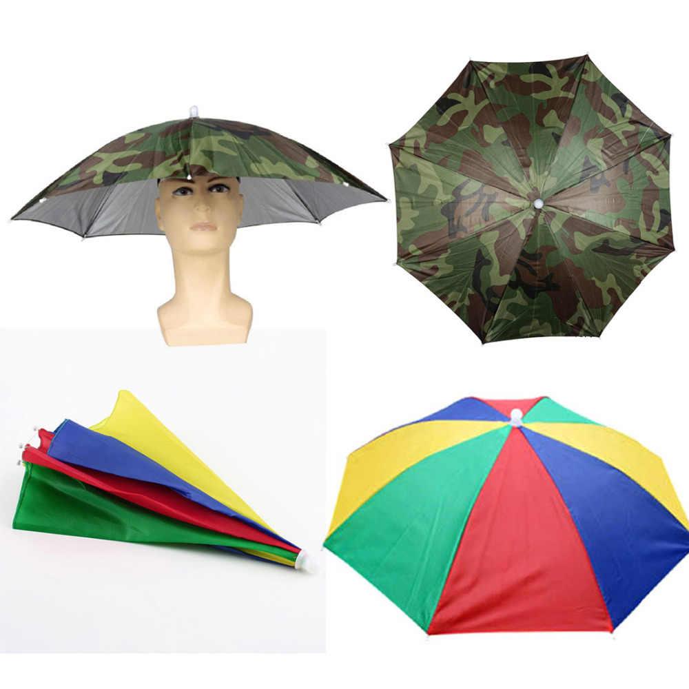 9675fcdad2ab8 2 Colors Hands Free Portable Creative 55cm Usefull Umbrella Hat Sun Shade  Camping Fishing Hiking Festivals