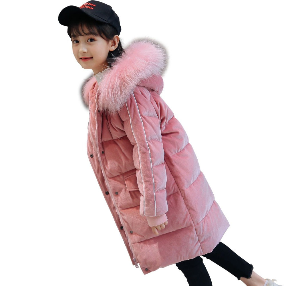 Girls Winter Jacket Fur Hooded Russian Girls Winter Coat 2018 Children Jacket Down Cotton Parkas Outerwear Long Teen Clothes 2015 new hot winter cold warm woman down jacket coat parkas outerwear hooded loose luxury long plus size 2xxl splice cloak