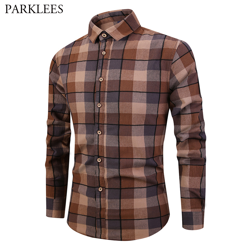 Vintage Plaid Shirt Men 2019 High Quality Cotton Shirt Mens Casual Button Down Dress Shirts Slim Fit Long Sleeve Shirt Chemise