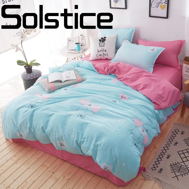Solstice Home Textile Fashion Print Comfortable Skin Wash Cotton Sheets Quilt Cover Pillowcase Bedding 3/4pcs