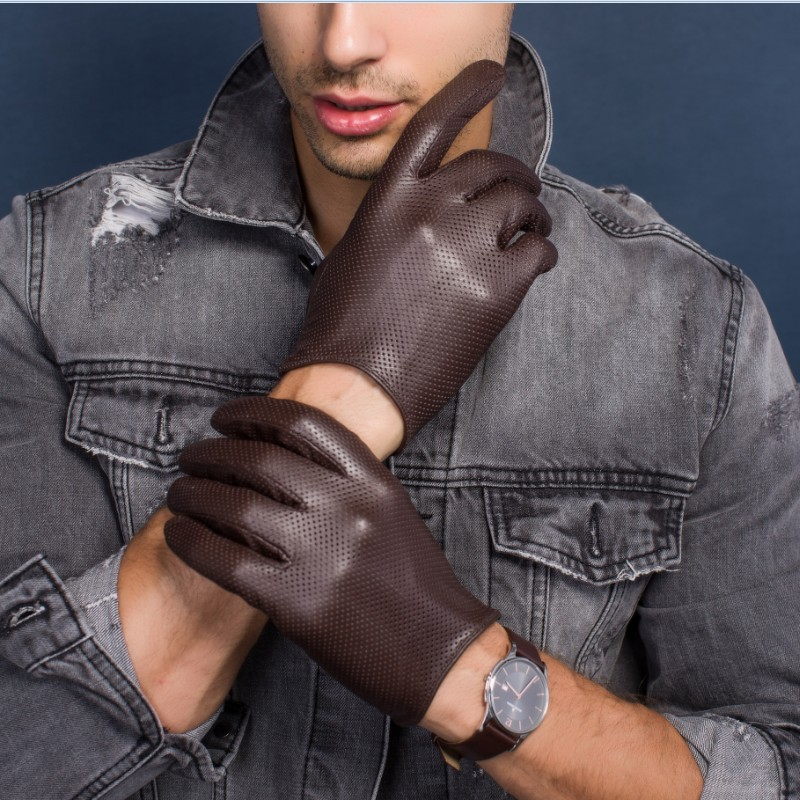 Men's Thin Genuine Leather Fit Gloves Male Breathable Soft Fashion Classic Goatskin Autumn Unlined Touch Screen Driving Gloves