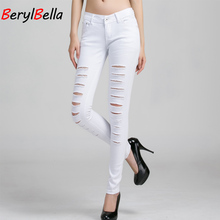 BerylBella Women Pants 2017 Summer Style White Hole Ripped High Waist Stretch Pencil Capris Female Skinny Casual Jeans