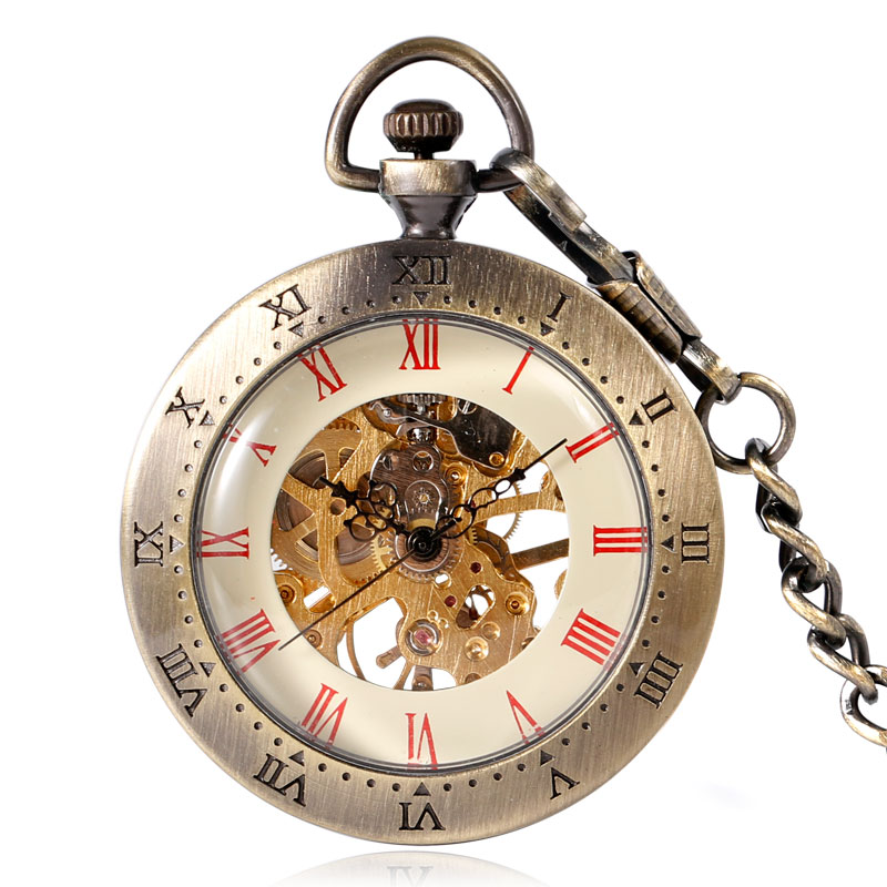 Fob Mechanical Hand Wind Pocket Watch Chain Vintage Steampunk Open Face Red Roman Numbers Bronze Fob Clock Unisex Xmas Gift New