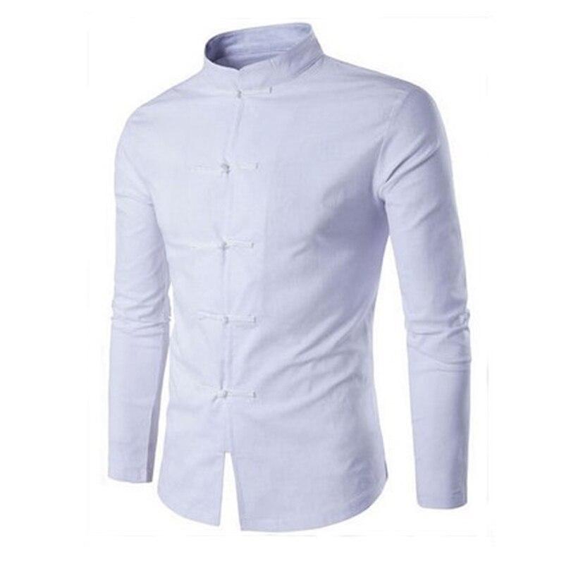 2018 Spring Chinese Style Social Shirt Men Retro Casual Stand-collar Long-sleeved Men Linen Shirt Fashion Linen Business Shirts