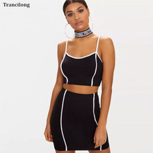 Trancilong Summer Black Sexy Sling Two-Piece Suit 2019 Hot Sale White Striped Sleeveless Short