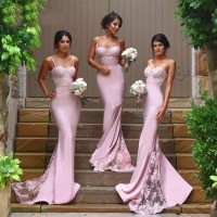 Long Bridesmaid Dresses Cheap Satin Wedding Party Dress Elegant Vestidos De Festa Formal Occasion Dress