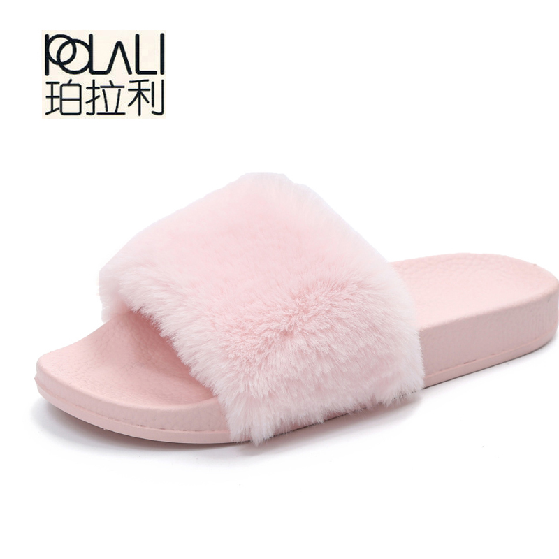POLALI Indoor Fur Slippers 2016 Warm Platform Shoes Woman Slip On Soft Flats Casual Floor Slipper Women Home Shoes XWT556(China)