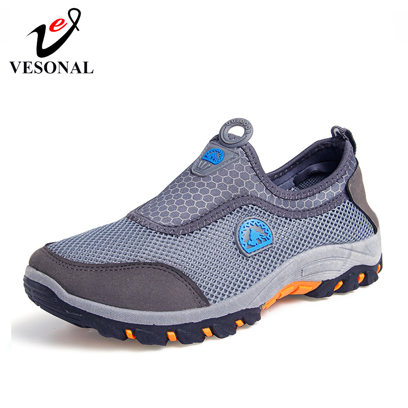 VESONAL 2019 Summer Slip-On Mesh Sneakers Men Breathable