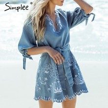 a6d98e311ed Simplee Summer v neck embrodiery denim dress women Elegant sashes short  blue jeans dresses Casual holiday ladies beach dress