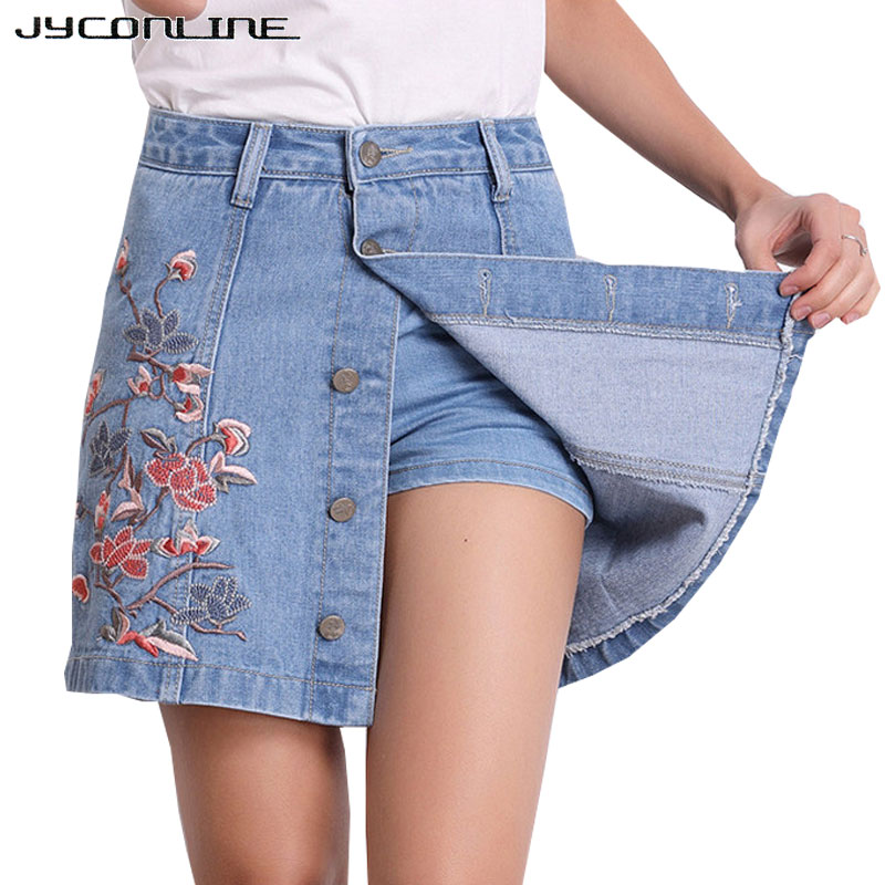 JYConline Casual Floral Embroidery Denim Skirt High Waist Skirts Womens Plus Size Short Jeans Skirt Vintage Mini Skirts Buttons