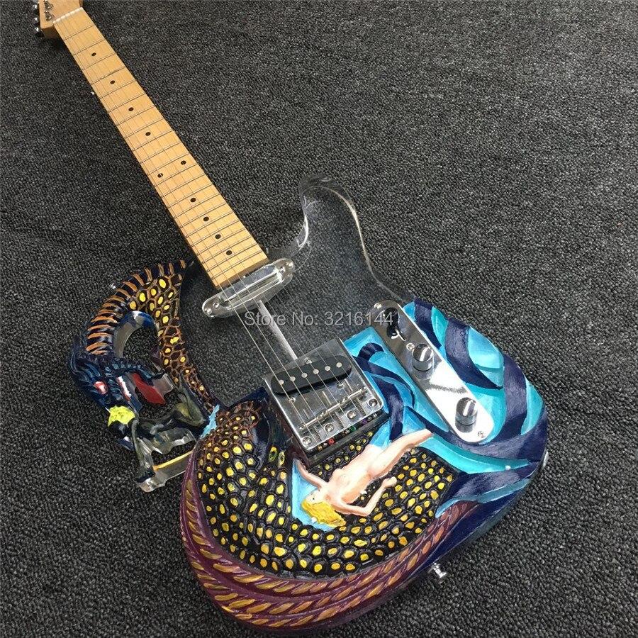 Cristal acrylique personnalisé usine de guitare électrique, guitare électrique sculpture sur cristal, guitare tout peut, vraies photos