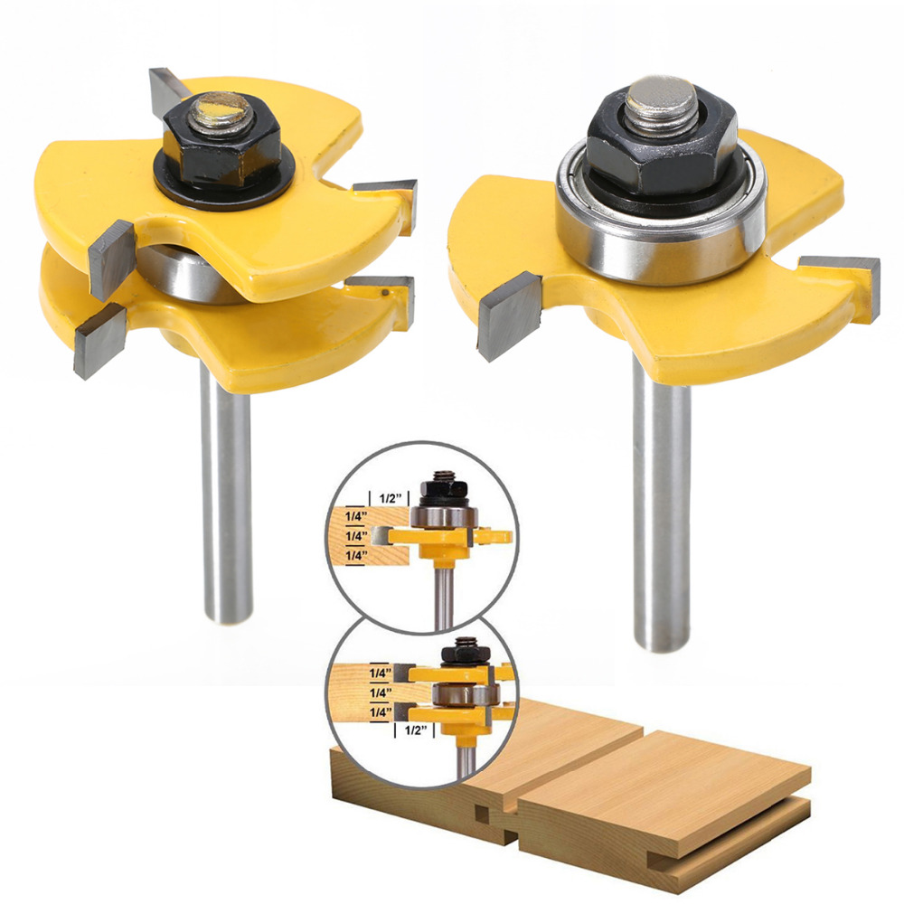 High Quality 2pcs Tongue Groove Router Bits Set 3 4 Stock 1 4 Shank Woodworking Tool