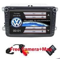 2 Din 8 Inch Car DVD Player For VW POLO PASSAT Golf Skoda Octavia SEAT LEON With 3G Radio GPS Navigation 1080P FM Free Camera