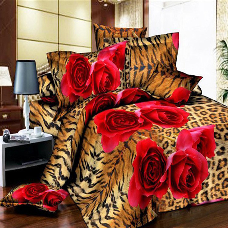 Esydream Leopard Print Red Rose King Size Duvet Cover