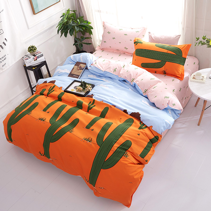 Reactive Printing Desert Cactus bedding set duvet cover + flat sheet + pillowcase 3/ 4pcs twin full queen king size