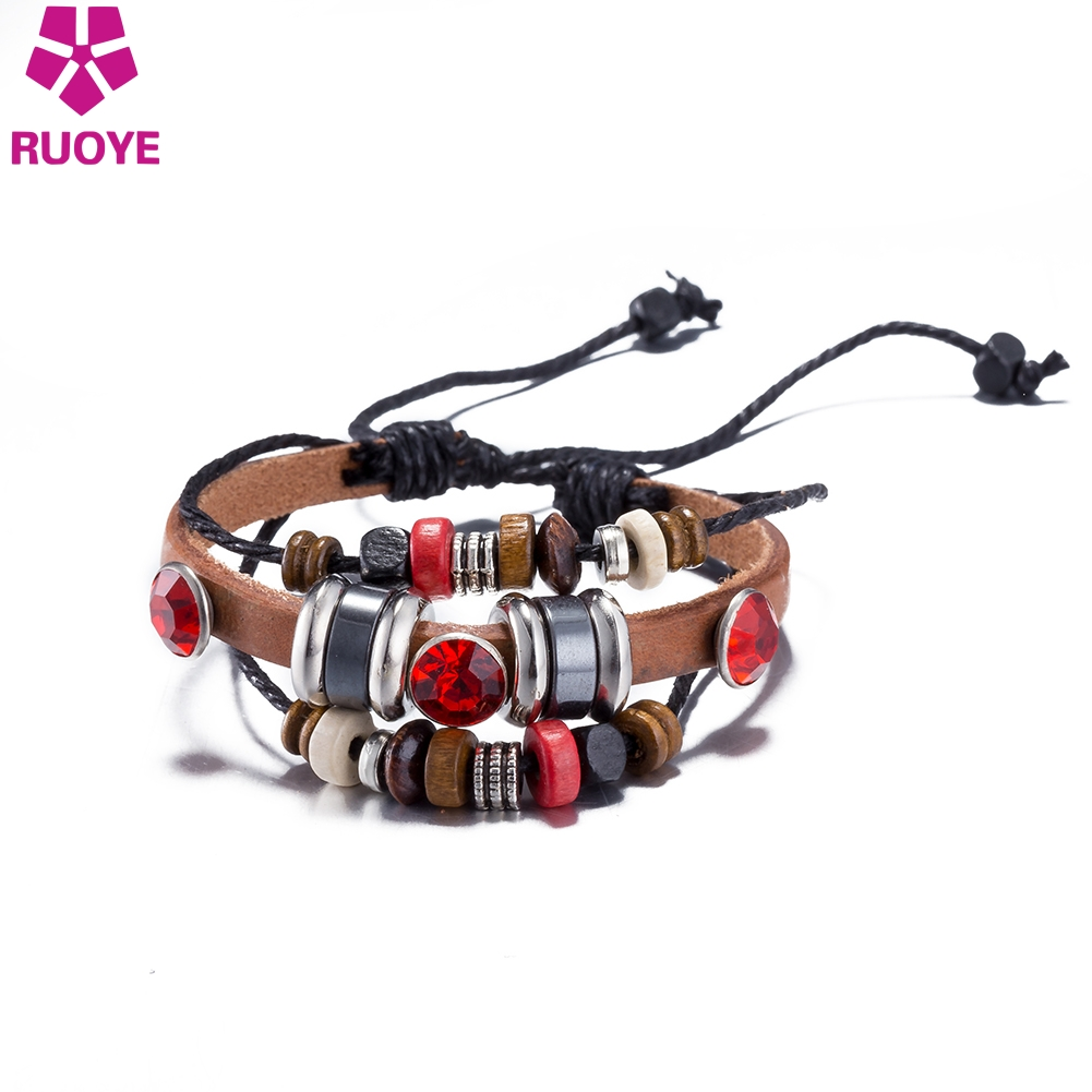 RUOYE NEW Women Men Retro Genuine Leather Punk Beads Charm Bracelet Fashion Adjustable Jewelry For Women Wholesale