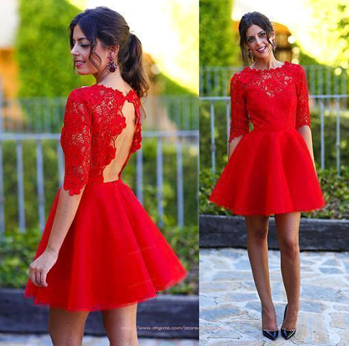 2015 Sweety Hot Red Homecoming dresses Half Sleeves Bateau Neck Lace Open Back A Line Short Prom Cocktail Dresses