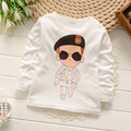 2016 Cartoon Animal Cotton Image kids wear clothing Girls Shirt Long Sleeve Tops&Tees O-neck shirts for boys and girls