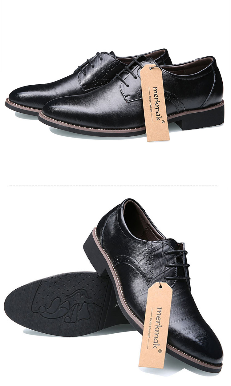 Merkmak Big Size 37-48 Oxfords Leather Men Shoes Fashion Casual Pointed Top Formal Business Male Wedding Dress Flats Wholesales 24