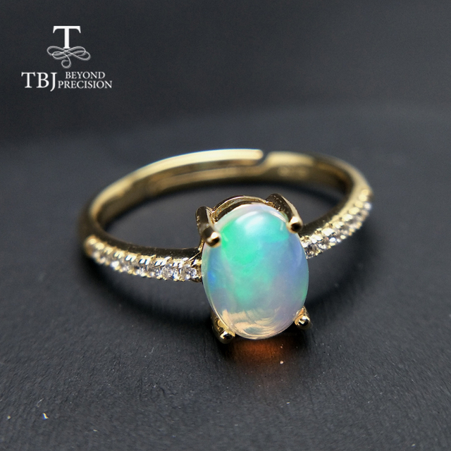 TBJ,100% natural ethopian opal  ov6*8 gemstone ring in 925 sterling silver precious stone jewelry with gift box,elegant design