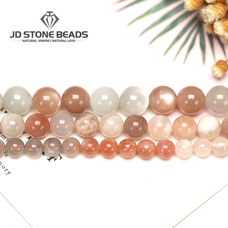 Size 4 6 8 10 12mm Natural Moonstone Beads Colorful Moonlight Bulk Loose Gemstone Beads For DIY Making Bracelet Necklace Jewelry