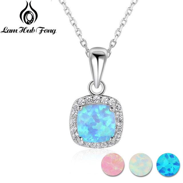 Classic Square White Pink Blue Opal Necklaces & Pendants Zirconia 925 Sterling S