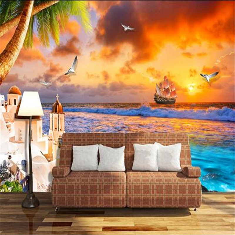 3d wallpaper custom photo mural non-woven modern sunset tv background wall 3d painting living bedroom wallpaper for walls 3d custom 3d mural wallpaper print modern living room sofa tv bedroom fashion colorful lion photo background decor wall paper rolls