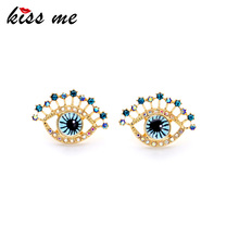 US $1.79 10% OFF|Personality Unique Godl Color Blue Eyes Women Stud Earrings Factory Wholesale-in Stud Earrings from Jewelry & Accessories on AliExpress - 11.11_Double 11_Singles' Day