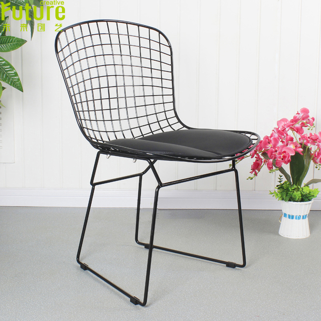 Black White Powder Coating Harry Bertoia Wire Chair Modern Classic Padded  Chair Steel Wire Side Chair