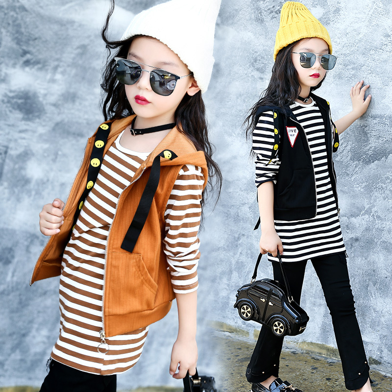 Sports Suits For Girls High Quality Cotton Children Clothing Sets Vest + Striped T-shirts 2Pcs Girl Clothes For Kids Tracksuits