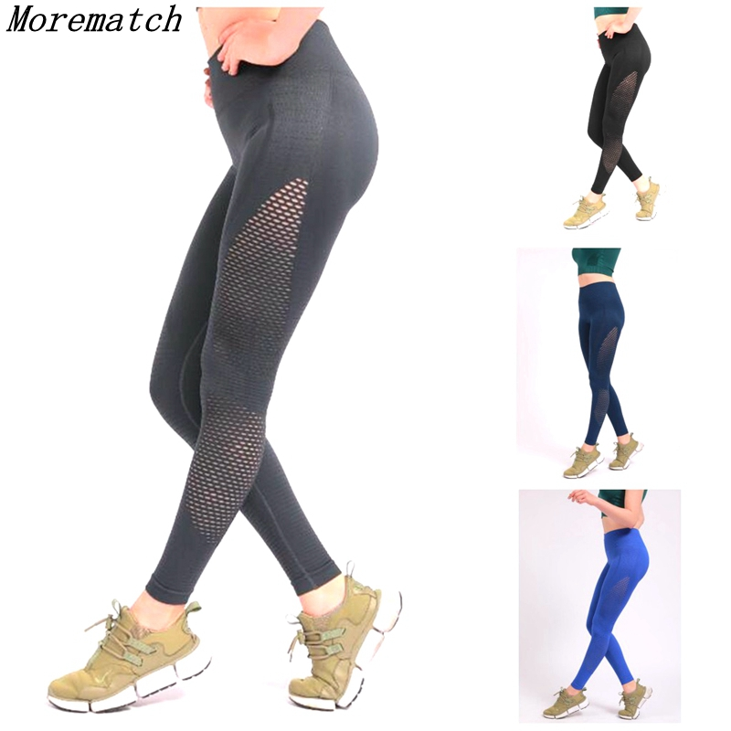 Morematch Seamless High Waist Yoga Leggings Tights Women Workout Mesh Breathable Fitness Clothing Training Pants Female