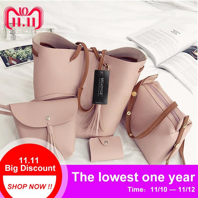 7928909ff163 4pcs/Set Fashion Women Bag Tassel Pure PU Leather Composite Bag Women  Clutch Handbag Set Large Shoulder Bag Tote bolsa feminina