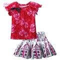 Promoção Floral Crianças Menina Roupa Do Bebê Roupas Set Meninas Tops Imprimir Esquetes CS81010-85Z