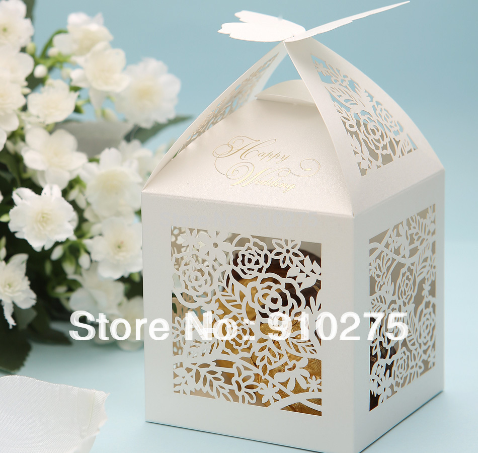 100 PCS White Elegant Butterfly Top Laser Cut Rosette Rose Candy ...