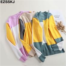 Новинка, повседневный весенне-осенний свободный свитер, пуловеры для женщин, длинный рукав, пэчворк, вязаный Топ, женский свитер с круглым вырезом и геометрическим рисунком