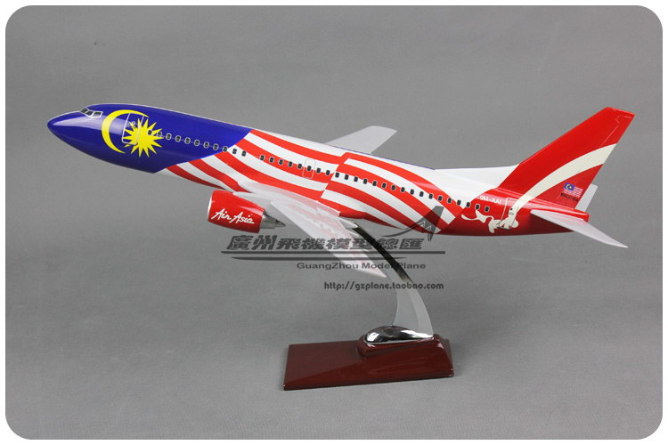 45cm Resin Air Asia Airways Airplane Model Malaysia Flag B737-300 Aviation Model Boeing 737 Airbus Aircraft Plane Model Toy Gift 40cm resin aircraft model boeing 737 nigeria airways airplane model b737 med view airbus plane model stand craft nigeria airline