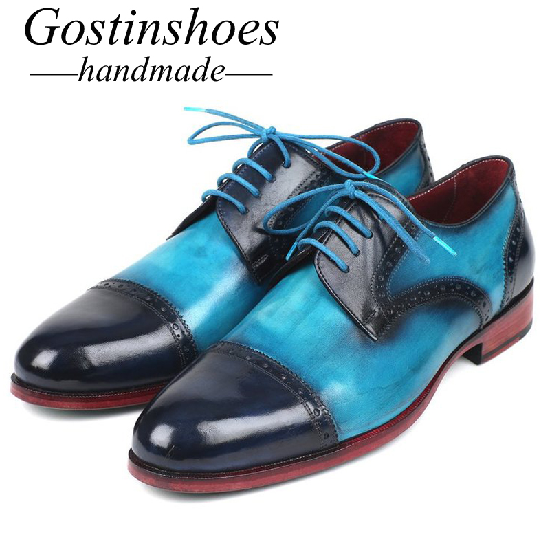 GOSTINSHOES HANDMADE Goodyear Welted Mens Derby Dress Shoes Fashion Blue & Turquoise Hand-Painted Cap-Toe SCZ017GOSTINSHOES HANDMADE Goodyear Welted Mens Derby Dress Shoes Fashion Blue & Turquoise Hand-Painted Cap-Toe SCZ017