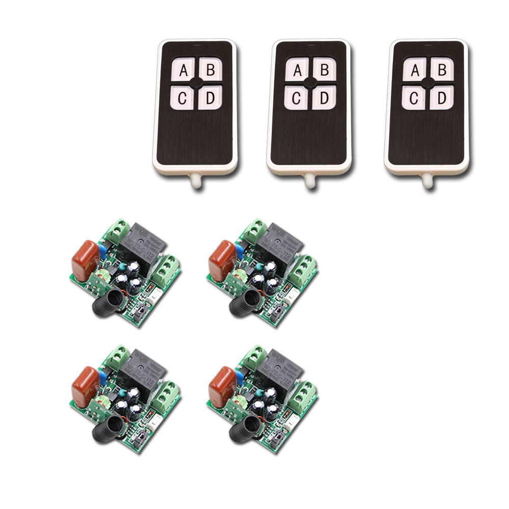 AC220V 1CH 10A RF Wireless Remote Control Switch Mini 1CH 10A Relay Receiver Switch For Light Lamp LED ac 220v 10a 1 channel wireless relay remote control switch rf receiver 4transmitters led light lamp remote on off push button