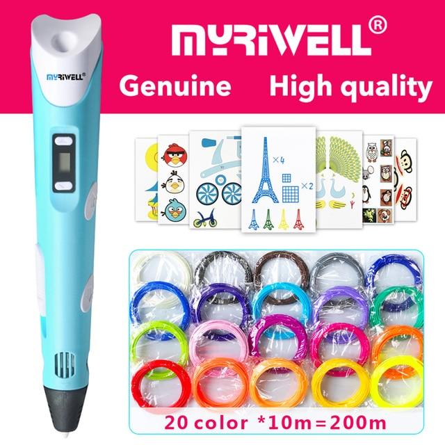Myriwell 3d kalem 3d kalemler, LED ekran, ABS/PLA Filament, model Akıllı 3d baskı kalem için En Iyi Hediye Kidspen 3d baskı kalem