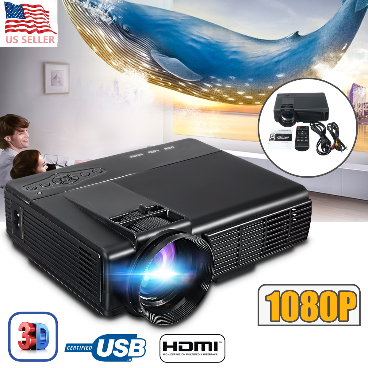 3000 Lumens 3D 1080P Projector Full HD Home Theater Multimedia VGA USB HDMI LED Projector smalto часы smalto st4g001m0011 коллекция volterra page 7