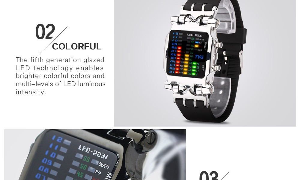 Luxury Brand TVG Watches Men Fashion Rubber Strap LED Digital Watch Men Waterproof Sports Military Watches Relogios Masculino 7