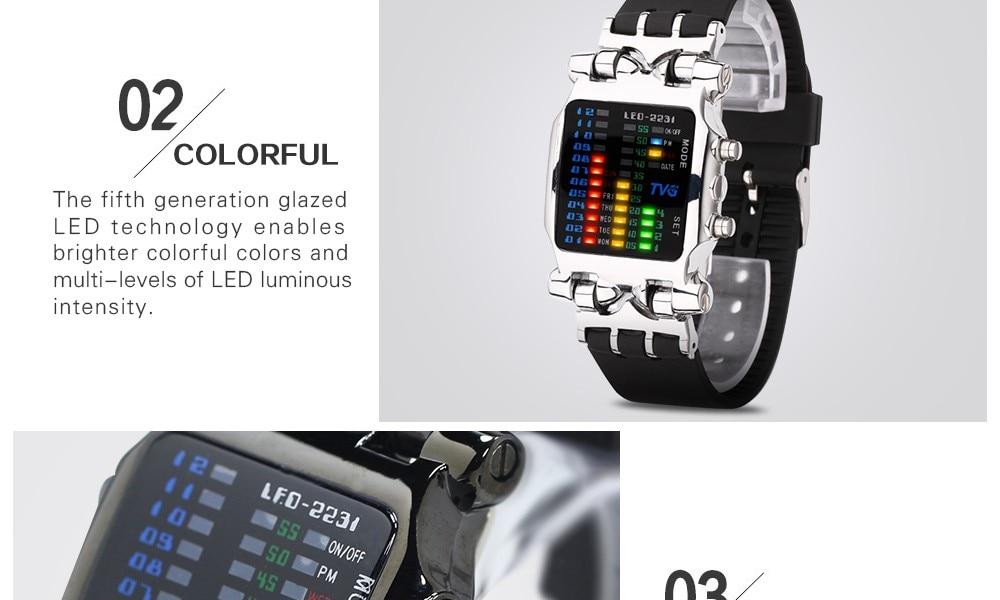 Luxury Brand TVG Watches Men Fashion Rubber Strap LED Digital Watch Men Waterproof Sports Military Watches Relogios Masculino 7