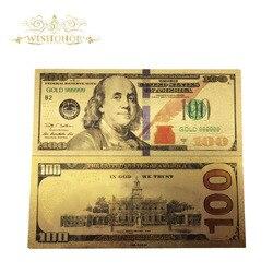 10 шт./лот горячая Распродажа цвет США Золотая банкнота новинка 100 доллар копия банкнот В позолоченном деловом подарке коллекция