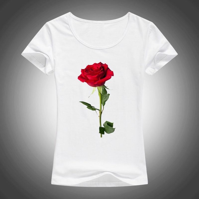 2018 nyári pamut rövid ujjú póló női Kawaii vörös rózsa nyomtatott felsők pólók divat Harajuku póló női Camiseta F28