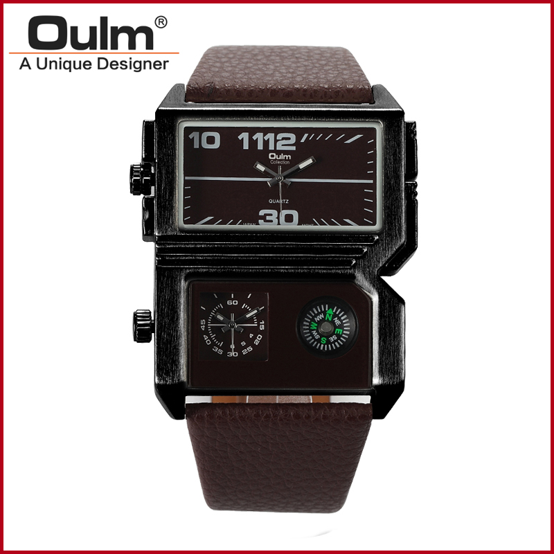 Oulm HP3561  men watch Dual Movt Military Quartz Watches Men Compasss Analog Wristwatches for Men Relogio Masculino oulm 3548 authentic mens 5 5cm large dial watches leather band dual time japan movt quartz watch relogio masculino grande marca