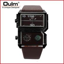 HP3561 Oulm hombres reloj Dual Movt de Cuarzo Militar Relojes Hombres Compasss Analógico de Pulsera para Hombres Relogio masculino