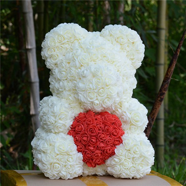 Искусственные цветы розы Медведь собака кролик Мопс юбилей день Святого Валентина подарок на день рождения мать подарок Свадебная вечеринка украшение - Цвет: 40CM WhiteHeart Bear
