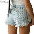 New 2017 Summer Style Punk Rock Fashion High Waisted Denim Shorts Vintage Hole Ripped Rivet Short Jeans Sexy Womens Shorts Femme